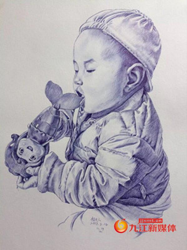 亚博体育app苹果王平:张海晶画的女儿圆珠笔画_副本_副本.jpg